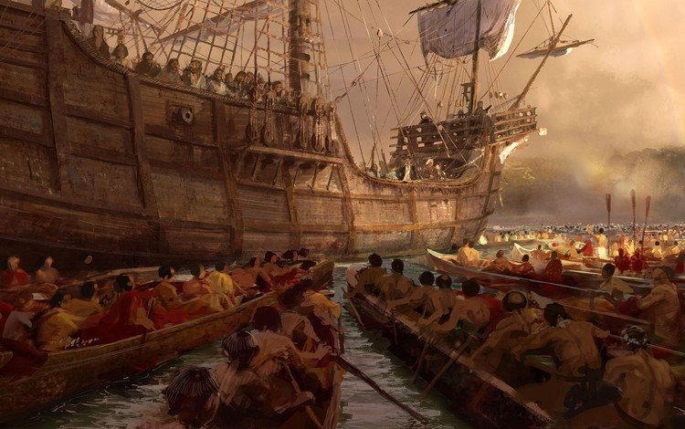 рисунок, парусник, индейцы, испанцы, figure, sailboat, the indians, the spaniards