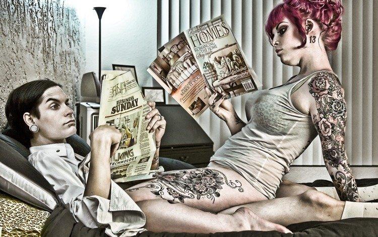 рисунок, кровать, газета, журнал, секс, figure, bed, newspaper, journal, sex