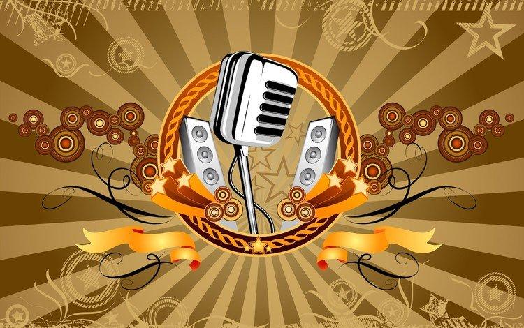 вектор, микрофон, музыка, vector, microphone, music