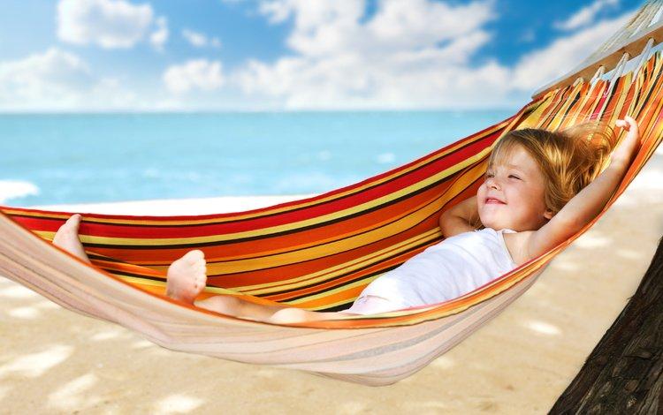 море, пляж, лето, девочка, отдых, ребенок, гамак, курорт, sea, beach, summer, girl, stay, child, hammock, resort