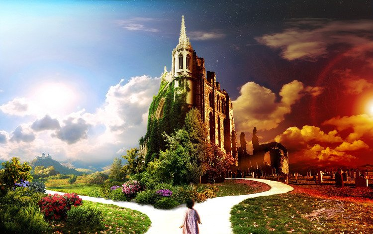 небо, свет, дорога, цветы, дом, ребенок, the sky, light, road, flowers, house, child