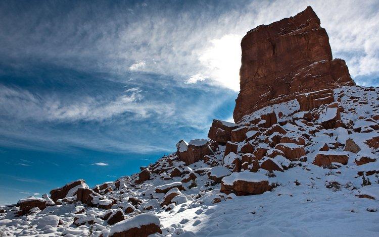 snow, rock, blade
