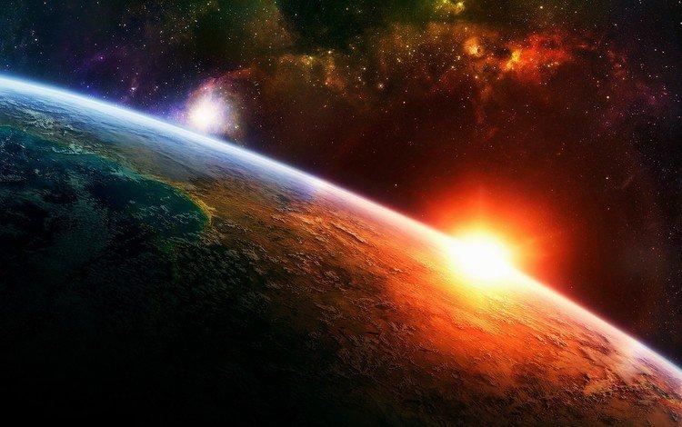 солнце, земля, космос, звезды, планета, атмосфера, the sun, earth, space, stars, planet, the atmosphere