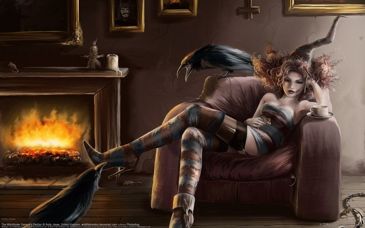 рисунок, andy jones, ведьма, готика, мышь, коршун, камин, figure, witch, gothic, mouse, kite, fireplace