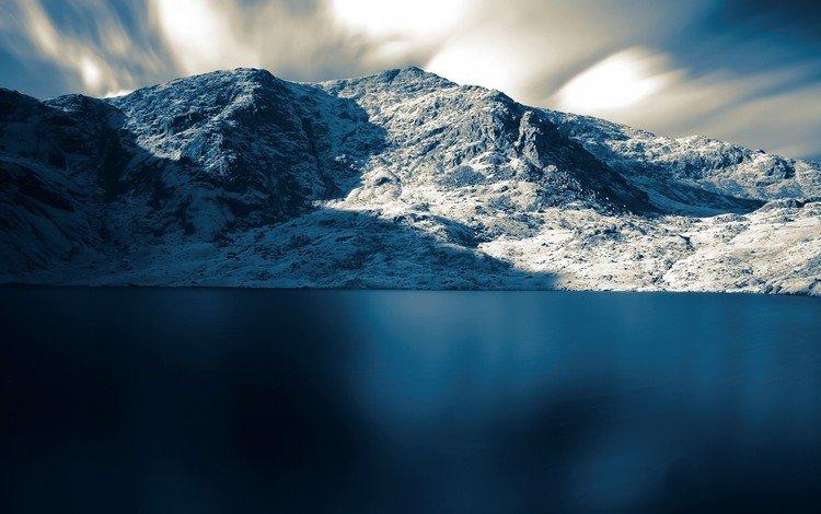 mountains, snow, sea