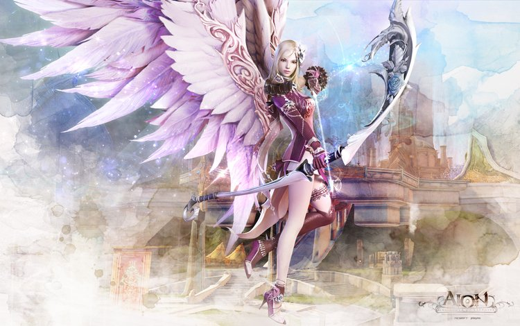 wallpaper, girl, weapons, castle, wings, game, aion, wallpapers