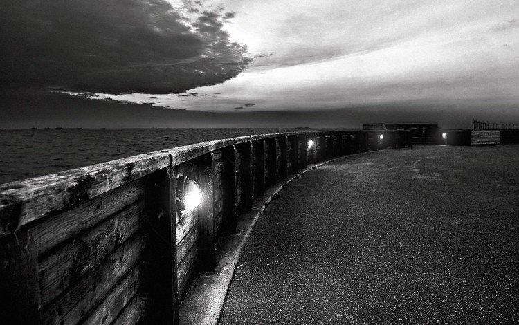 clouds, black and white, promenade