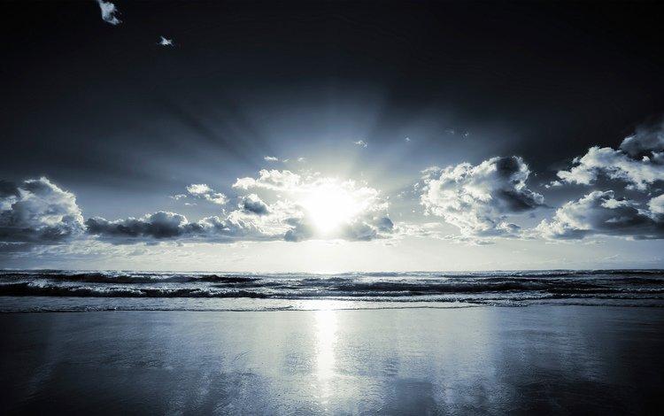 облака, солнце, море, clouds, the sun, sea