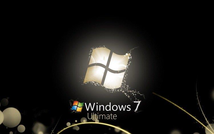 windows seven 7, computers wallpapers, блака, 3д, в стиле, black, 3d, style