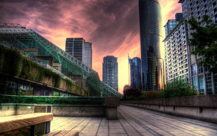 закат, небоскребы, здания, sunset, skyscrapers, building