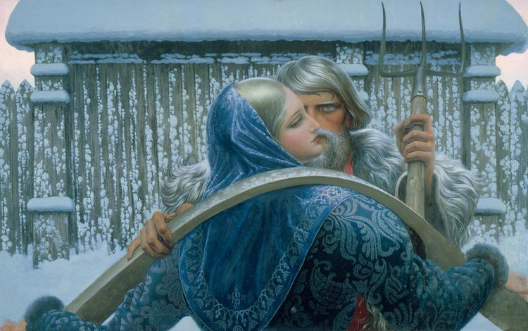 картина, константин васильев, нечаянная встреча, русь, picture, konstantin vasilyev, unexpected meeting, russia