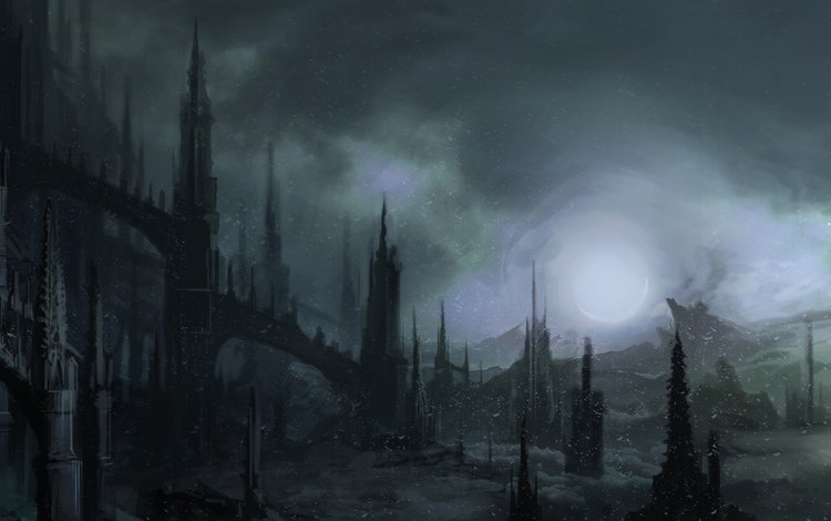 арт, ночь, снег, мрак, готика, шпили, art, night, snow, the darkness, gothic, spires