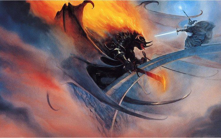 fantasy, bridge, battle, magic, vlastilina rings, gandalf