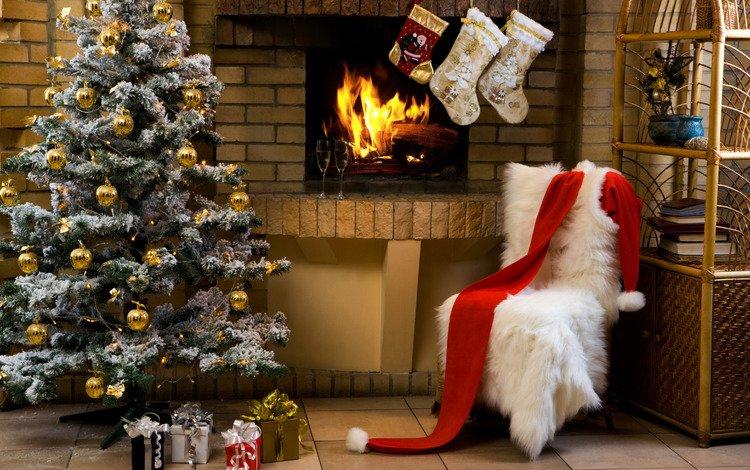елка, подарки, камин, бокалы, праздник, рождество, шампанское, tree, gifts, fireplace, glasses, holiday, christmas, champagne