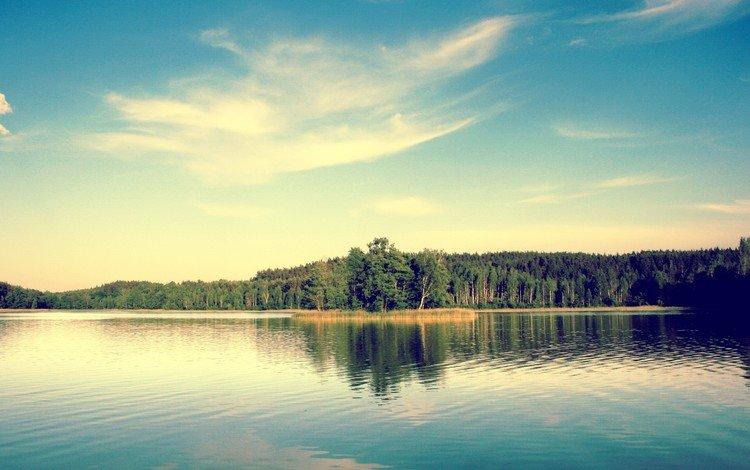небо, деревья, озеро, the sky, trees, lake