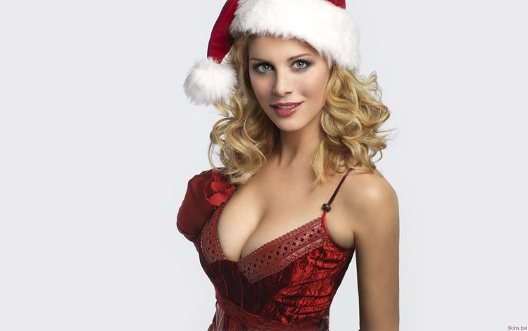 новый год, декольте, девушка, блондинка, взгляд, грудь, шапка, eva habermann, секси, снегурочка, maiden, new year, neckline, girl, blonde, look, chest, hat, sexy