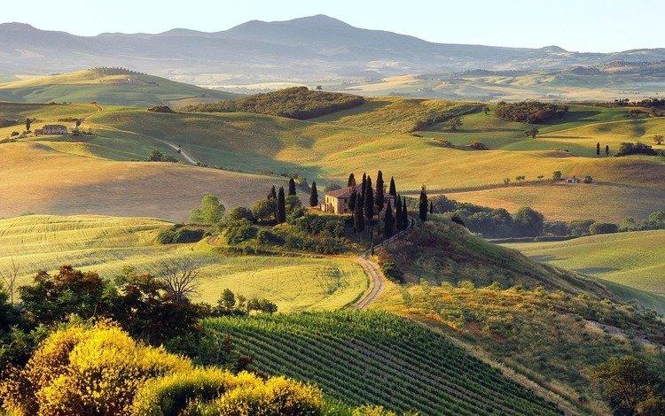 дорога, деревья, горы, холмы, природа, пейзаж, осень, дома, road, trees, mountains, hills, nature, landscape, autumn, home