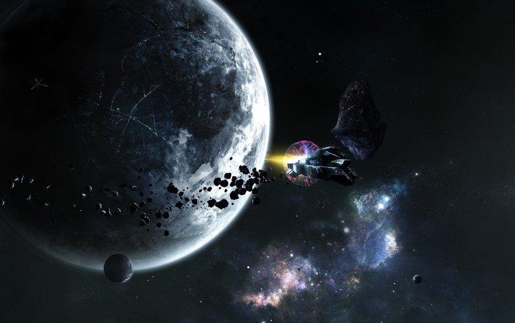 звезды, корабль, планеты, stars, ship, planet