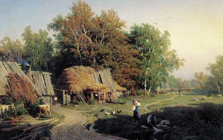 картина, деревня, васильев, picture, village, vasiliev