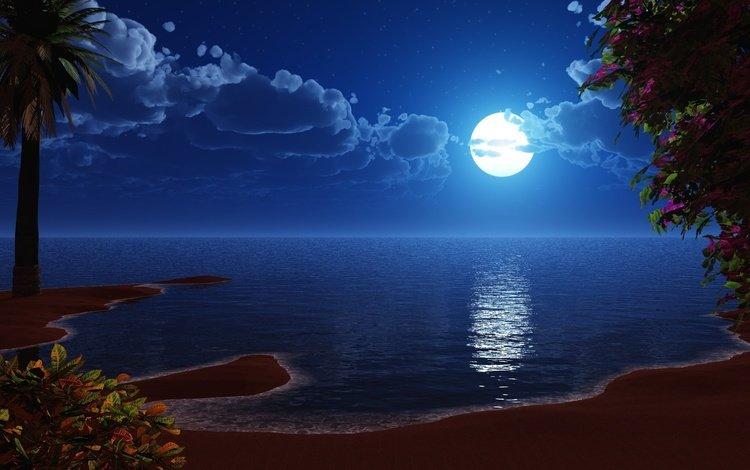 берег, море, луна, рисованый, shore, sea, the moon, drawing