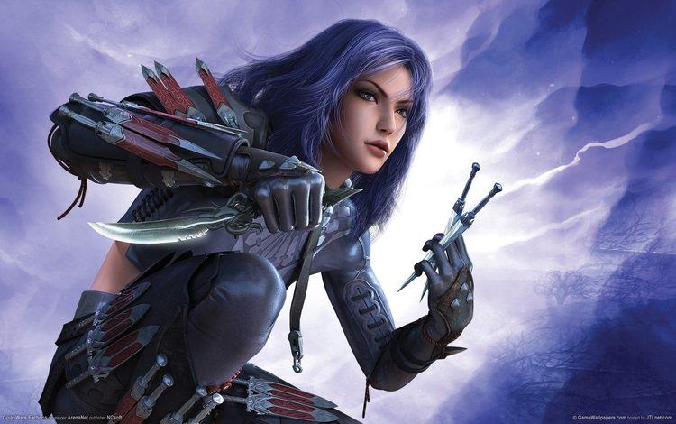 girl, warrior, guild wars, knives