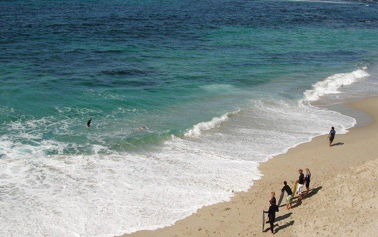 sea, sand, beach, people, wave