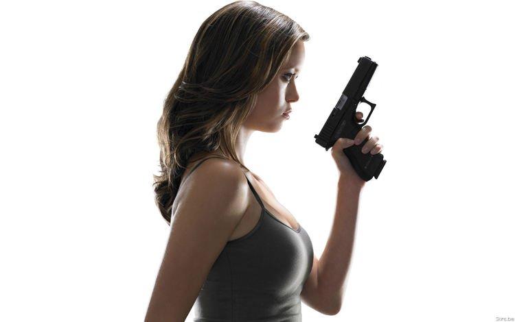 девушка, оружие, пистолет, взгляд, саммер глау, girl, weapons, gun, look, summer glau