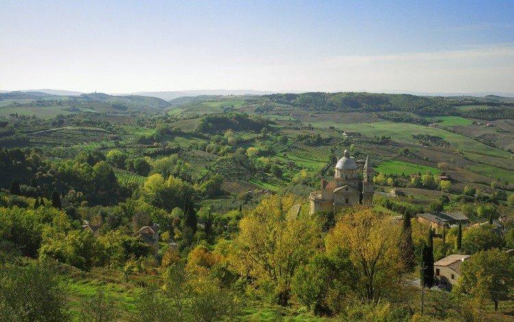 холмы, деревня, церковь, hills, village, church