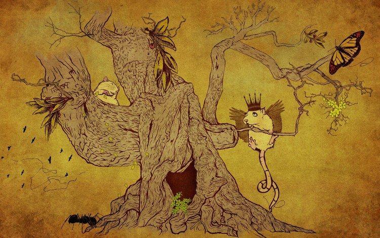 рисунок, дерево, животные, figure, tree, animals