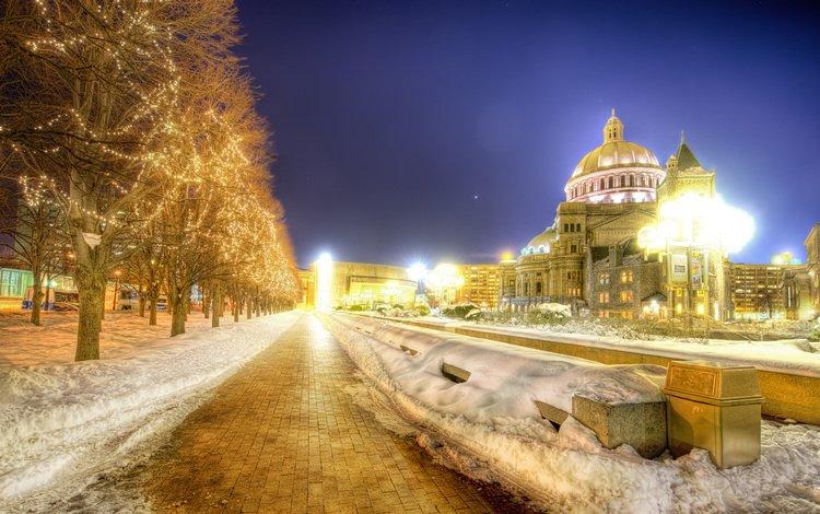 ночь, деревья, огни, снег, бостон, ноч, night, trees, lights, snow, boston