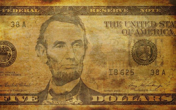 linсoln, доллар, купюра, dollar, bill
