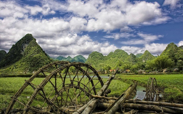 горы, мельница, село, mountains, mill, village