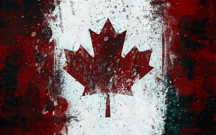 флаг, канада, кленовый лист, flag, canada, maple leaf
