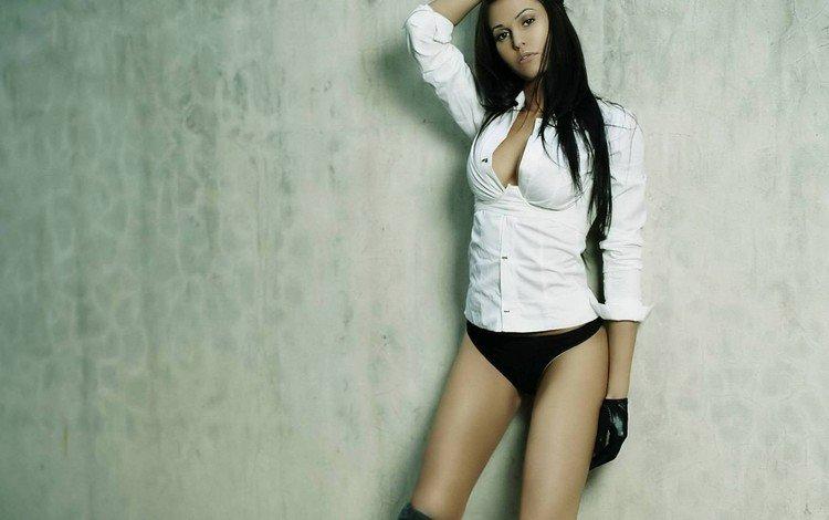 взгляд, стена, блузка, перчатки, look, wall, blouse, gloves