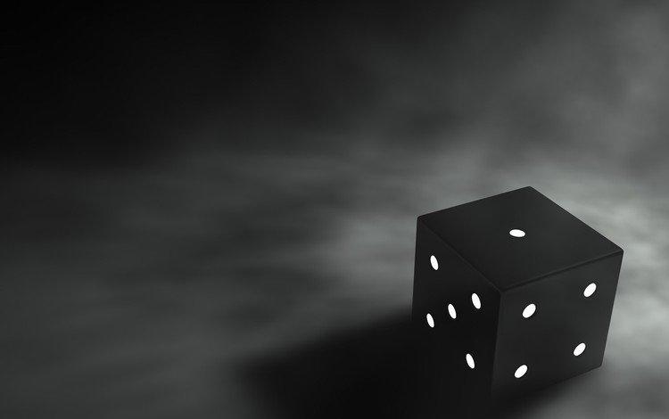 черно-белая, кубик, грани, black and white, cube, faces
