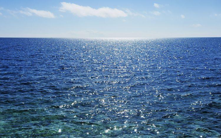 небо, море, горизонт, the sky, sea, horizon
