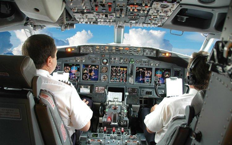 небо, облака, самолет, кабина, пилоты, приборы, the sky, clouds, the plane, cabin, pilots, devices