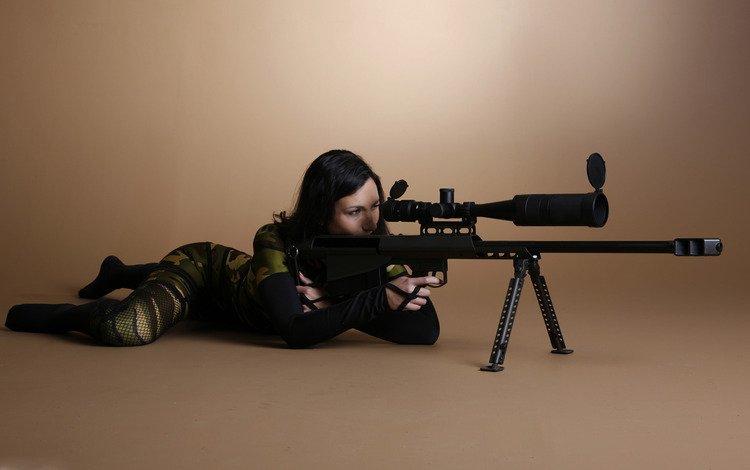 девушка, снайпер, с оружием, girl, sniper, weapons