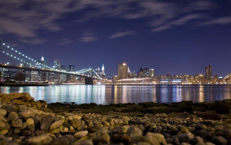 огни, берег, мост, нью-йорк, lights, shore, bridge, new york