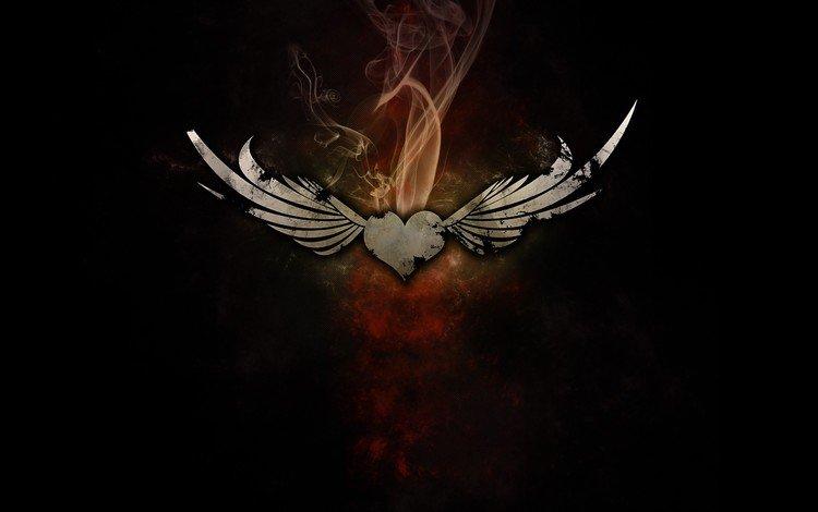 дым, крылья, сердце, smoke, wings, heart