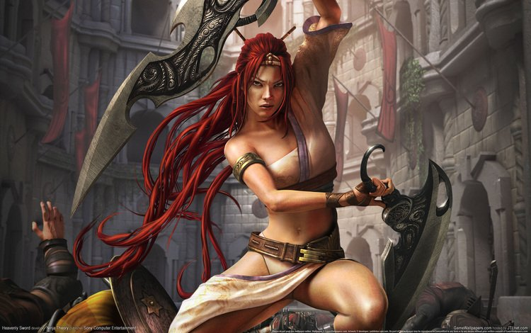 girl, warrior, the city, heavenly sword