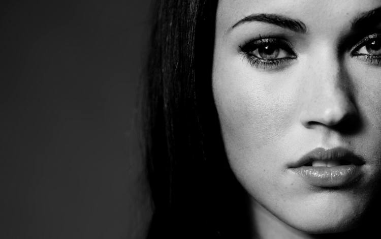 black and white, megan fox, close-up