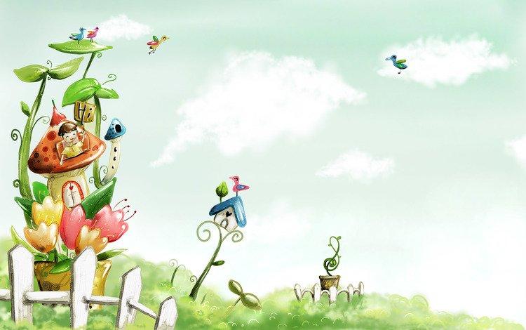 рисунок, облака, краски, забор, птицы, домик, детство, акварель, figure, clouds, paint, the fence, birds, house, childhood, watercolor