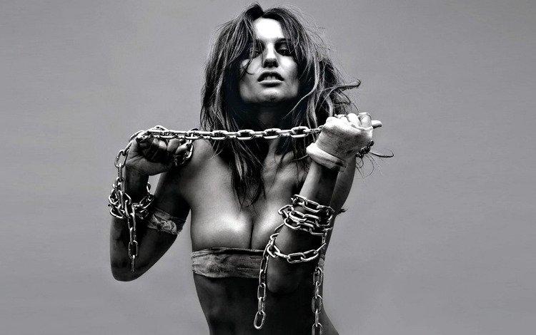 girl, model, chain, photoshoot