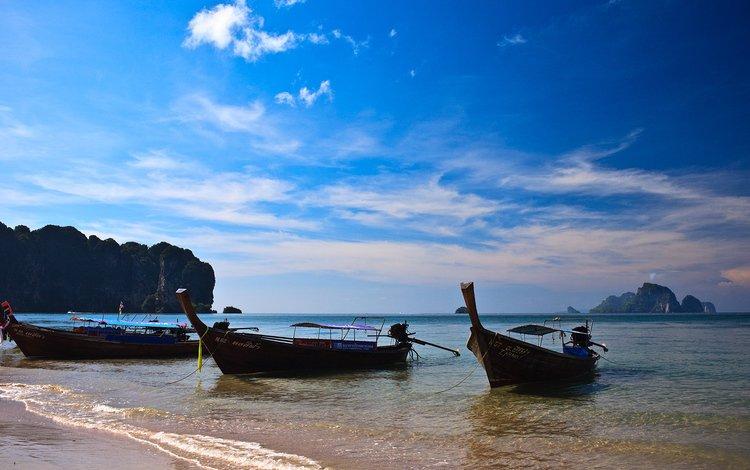 горы, солнце, море, таиланд, лонгбоат, mountains, the sun, sea, thailand, longboat