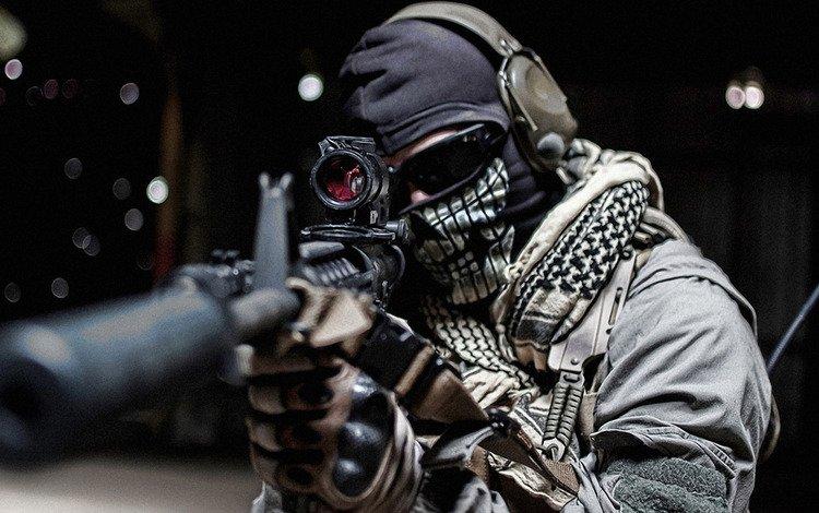 очки, винтовка, солдат, call of duty, глушитель, призрак, glasses, rifle, soldiers, muffler, ghost