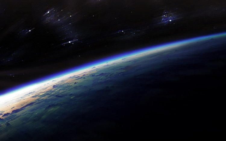 earth, the darkness, stars, planet, lights