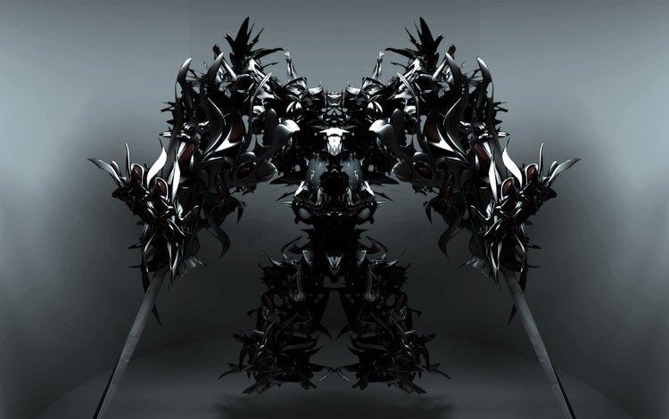 робот, мечи, seraph, robot, swords