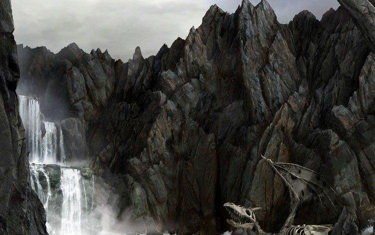 скалы, море, водопад, дракон, скелет, rocks, sea, waterfall, dragon, skeleton