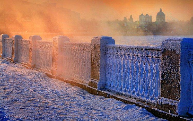 снег, зима, мост, россия, парапет, snow, winter, bridge, russia, the parapet